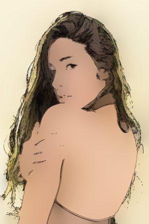 女性の絵_ヒント画像を使って彩色