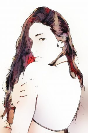 女性の絵_全自動彩色