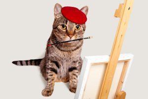 イラストを描く猫